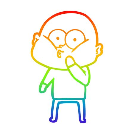 rainbow gradient line drawing of a cartoon bald man staring Reklamní fotografie - 129821274