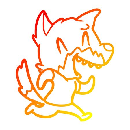 warm gradient line drawing of a laughing fox running away