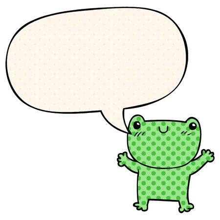 cartoon frog with speech bubble in comic book style