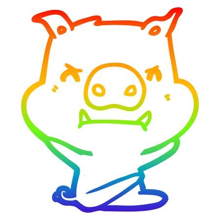 rainbow gradient line drawing of a angry cartoon pig throwing tantrum