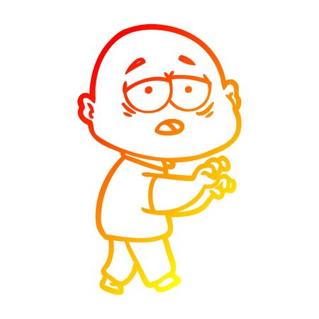 warm gradient line drawing of a cartoon tired bald man Ilustrace
