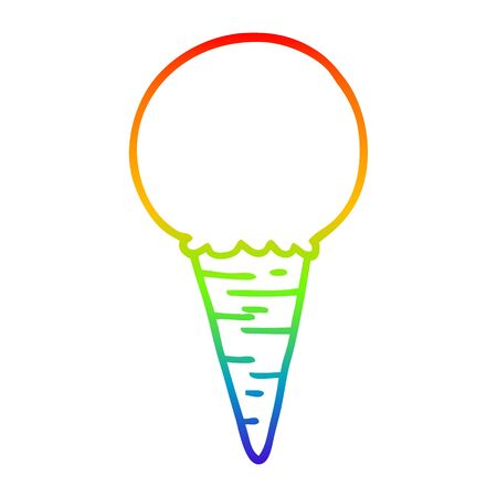 rainbow gradient line drawing of a cartoon ice cream cone
