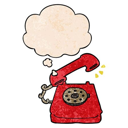 cartoon ringing telephone with thought bubble in grunge texture style 写真素材 - 129821422