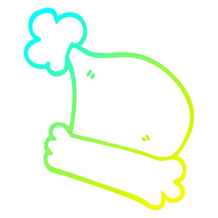 cold gradient line drawing of a cartoon christmas hats 向量圖像