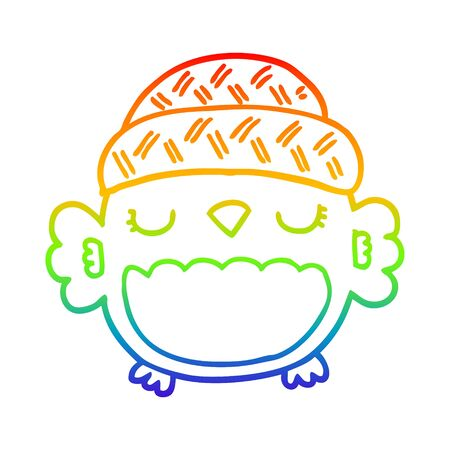 rainbow gradient line drawing of a cute cartoon owl in hat