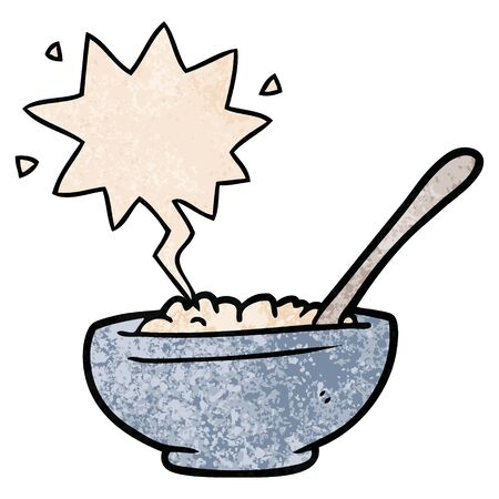 cartoon bowl of rice with speech bubble in retro texture style
