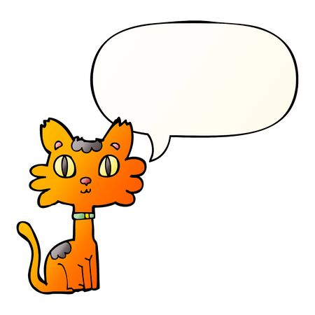 cartoon cat with speech bubble in smooth gradient style