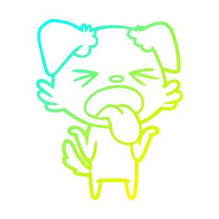 cold gradient line drawing of a cartoon disgusted dog shrugging shoulders Illustration