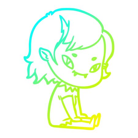 cold gradient line drawing of a cartoon friendly vampire girl sat down