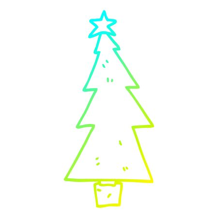 cold gradient line drawing of a cartoon christmas tree