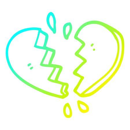 cold gradient line drawing of a cartoon broken heart