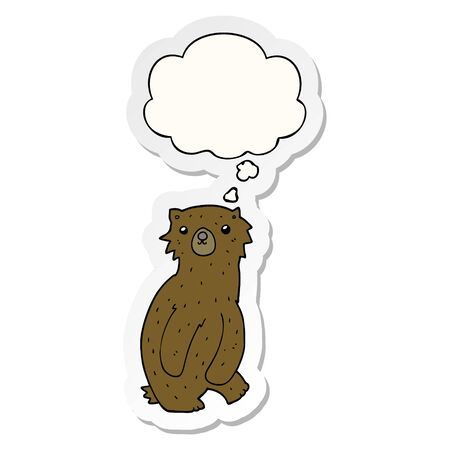 cartoon bear with thought bubble as a printed sticker