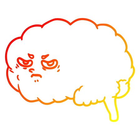 warm gradient line drawing of a cartoon angry brain Ilustração