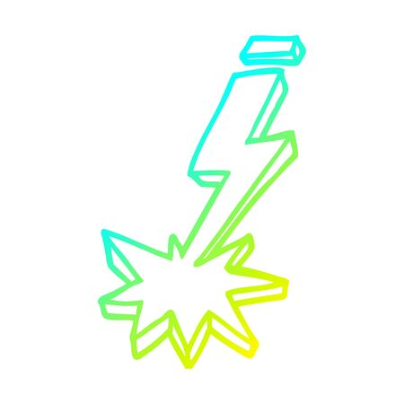 cold gradient line drawing of a cartoon thunder bolt