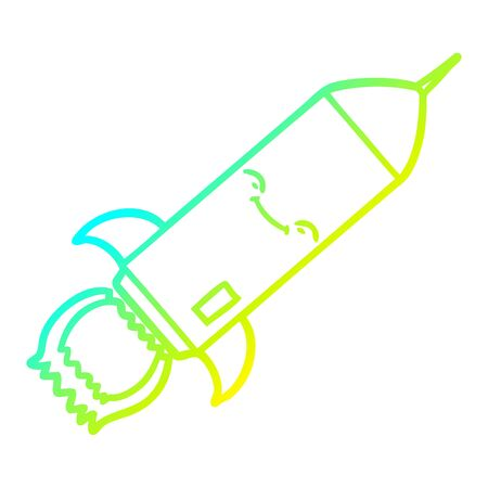 cold gradient line drawing of a cartoon rocket