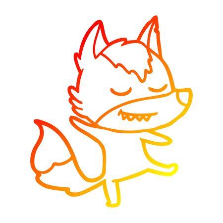 warm gradient line drawing of a friendly cartoon wolf balancing Ilustração