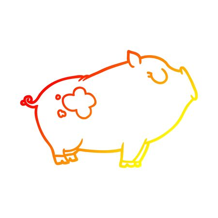 warm gradient line drawing of a cartoon pig  イラスト・ベクター素材