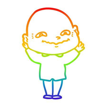 rainbow gradient line drawing of a cartoon creepy guy Ilustrace