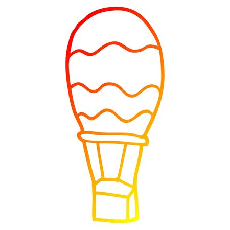 warm gradient line drawing of a cartoon hot air balloon