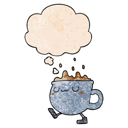 cartoon coffee cup walking with thought bubble in grunge texture style Иллюстрация
