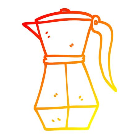 warm gradient line drawing of a cartoon stove top espresso maker