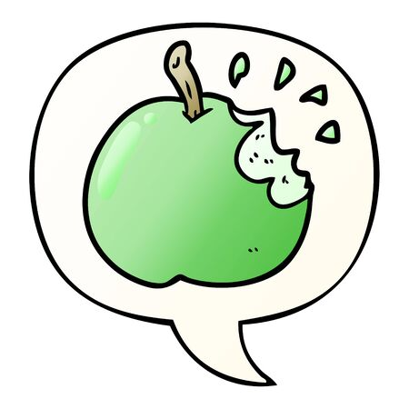 cartoon fresh bitten apple with speech bubble in smooth gradient style