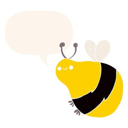 cartoon bee with speech bubble in retro style