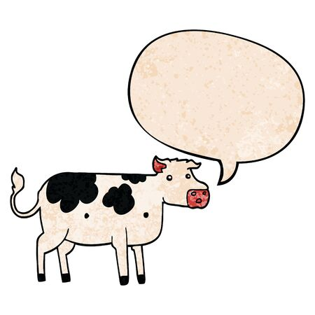 cartoon cow with speech bubble in retro texture style