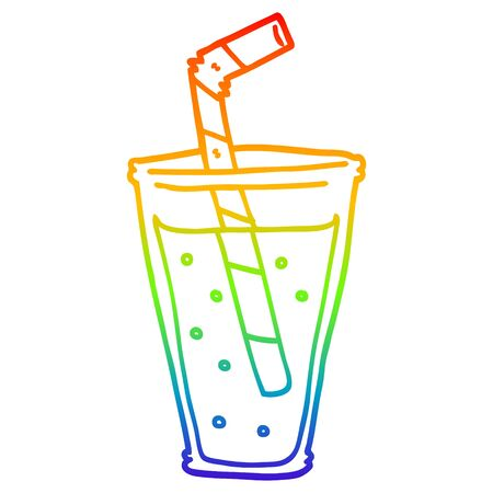 rainbow gradient line drawing of a cartoon fizzy drink