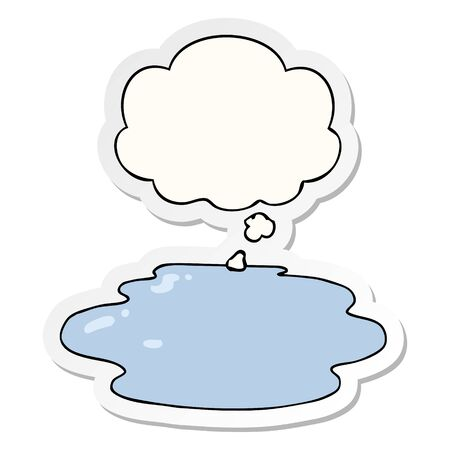 cartoon puddle of water with thought bubble as a printed sticker Illusztráció