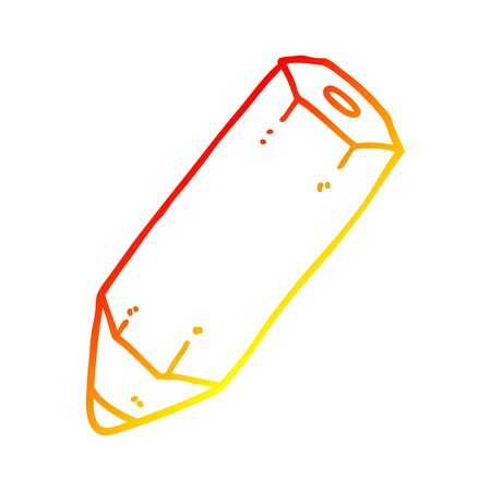 warm gradient line drawing of a cartoon pencil