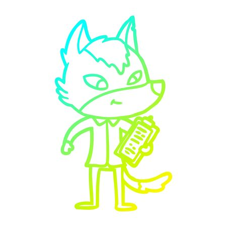 cold gradient line drawing of a friendly cartoon wolf manager  イラスト・ベクター素材