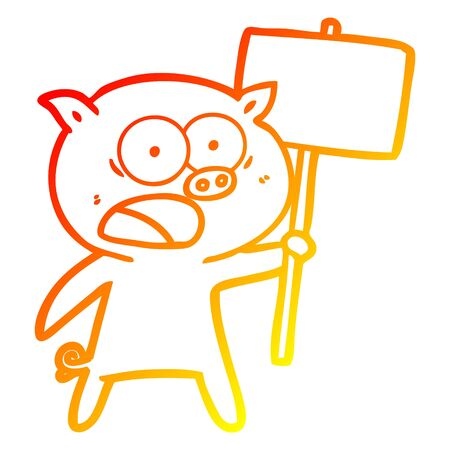 warm gradient line drawing of a cartoon pig protesting