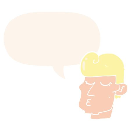 cartoon handsome man with speech bubble in retro style