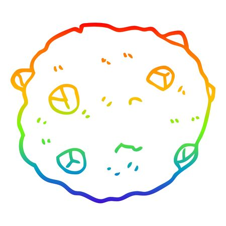rainbow gradient line drawing of a cartoon chocolate chip cookie