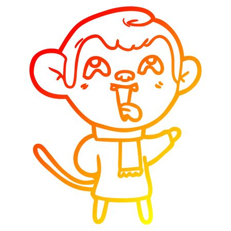 warm gradient line drawing of a crazy cartoon monkey wearing scarf