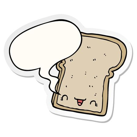 cute cartoon slice of bread with speech bubble sticker