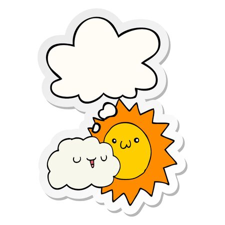 cartoon sun and cloud with thought bubble as a printed sticker Иллюстрация