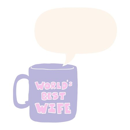 worlds best wife mug with speech bubble in retro style Illustration