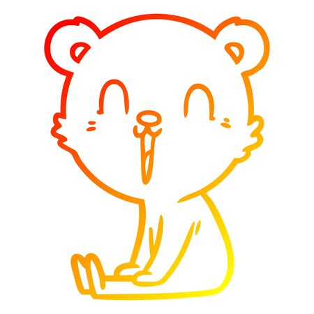 warm gradient line drawing of a happy cartoon bear  イラスト・ベクター素材