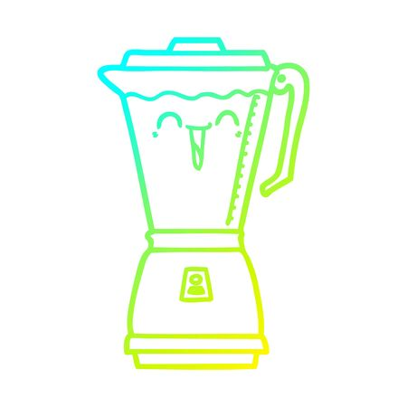cold gradient line drawing of a cartoon food processor