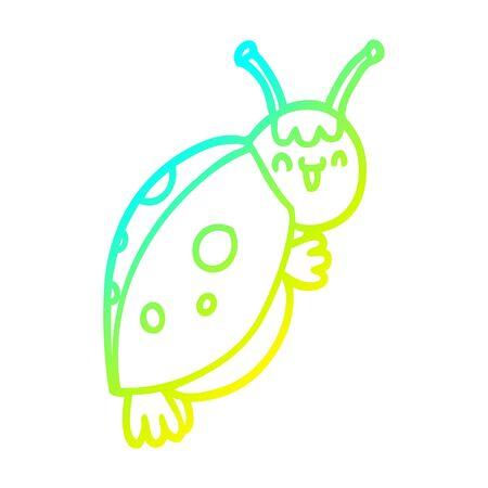 cold gradient line drawing of a cute cartoon ladybug Ilustracja
