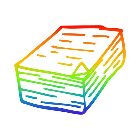rainbow gradient line drawing of a cartoon pile of paper