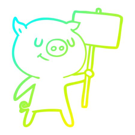 cold gradient line drawing of a happy cartoon pig with placard Фото со стока - 129822041