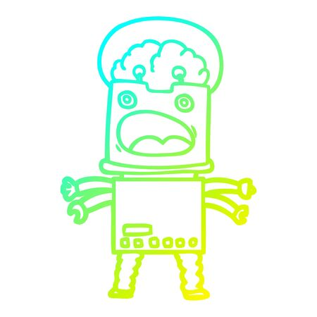 cold gradient line drawing of a cartoon robot Foto de archivo - 129822072