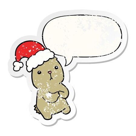 cartoon christmas bear worrying with speech bubble distressed distressed old sticker