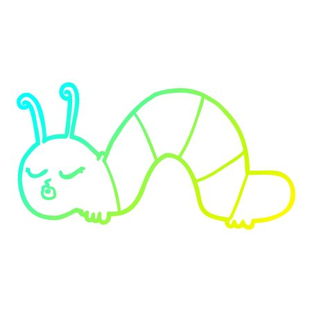 cold gradient line drawing of a cartoon caterpillar