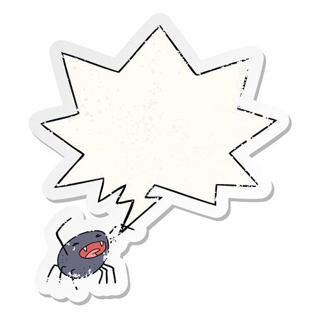 cartoon halloween spider with speech bubble distressed distressed old sticker
