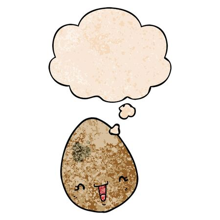 cartoon egg with thought bubble in grunge texture style