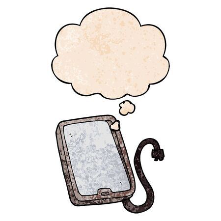 cartoon computer tablet with thought bubble in grunge texture style